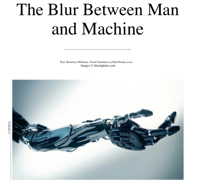 cyborgs - the blurring of man and machine - trend analysis - futurism
